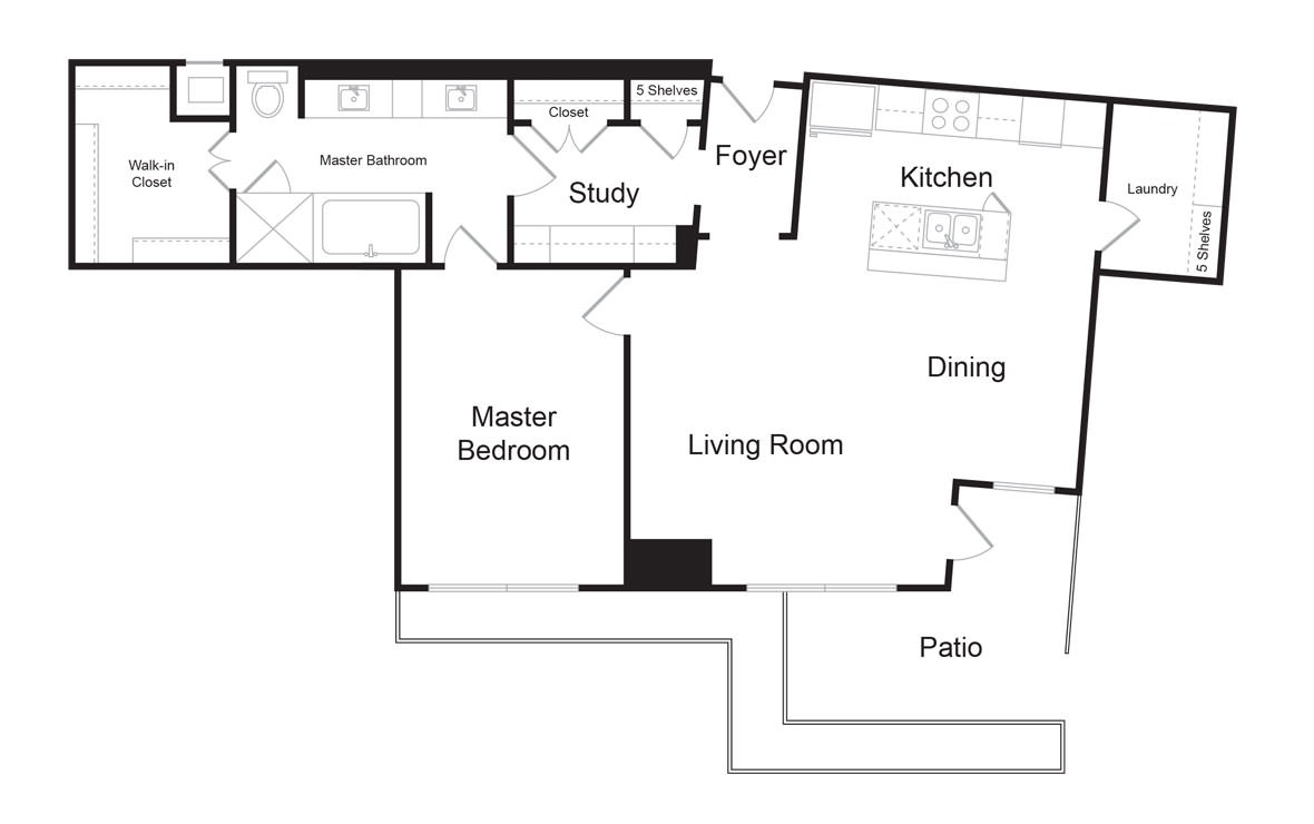 B10 - 1 bedroom floorplan layout with 1 bath and 1218 square feet. (2D)