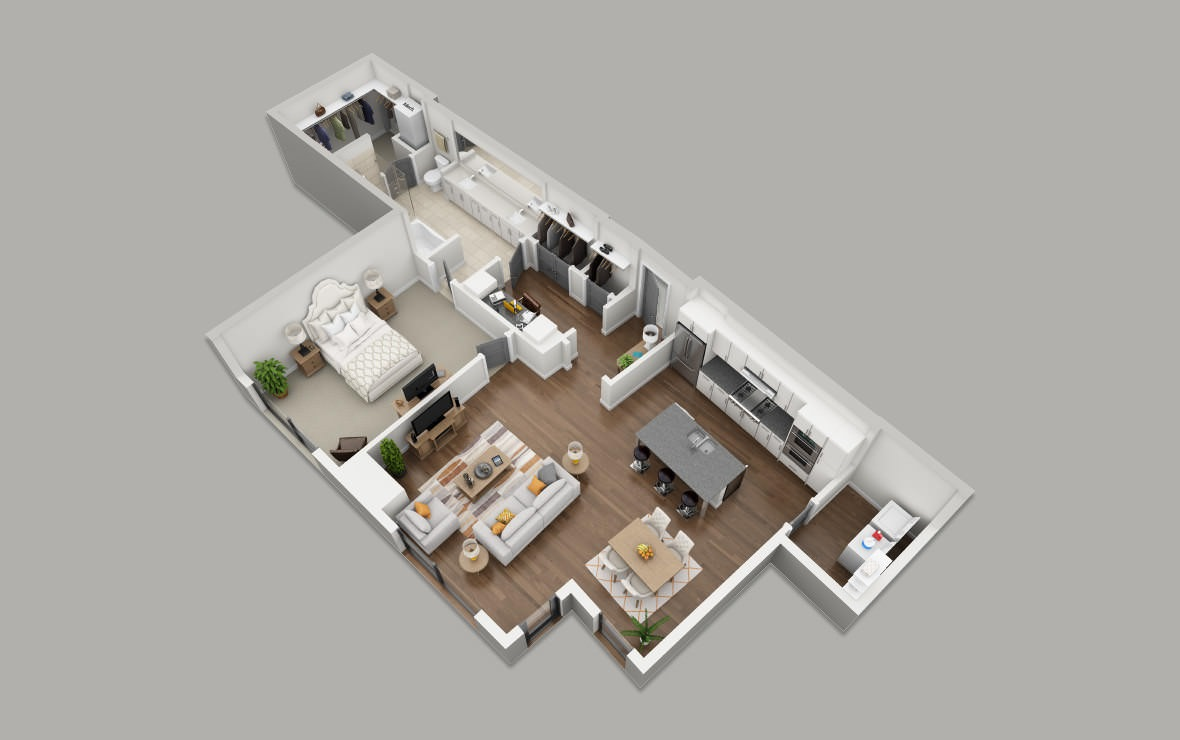 B10 - 1 bedroom floorplan layout with 1 bath and 1218 square feet. (3D)