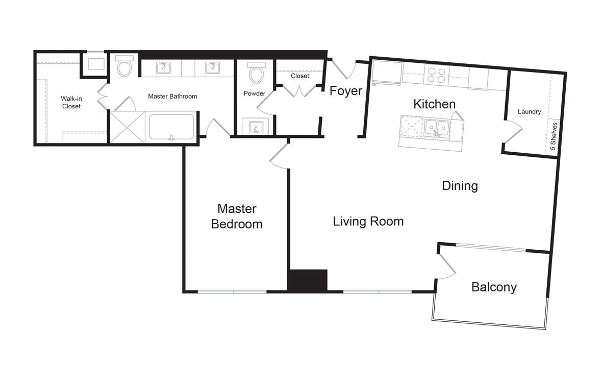B11 - 1 bedroom floorplan layout with 1.5 bath and 1298 square feet. (2D)