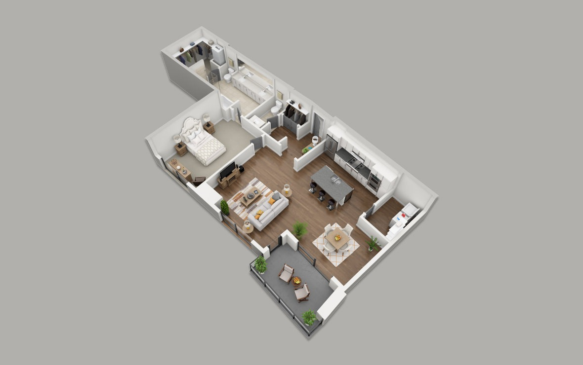 B11 - 1 bedroom floorplan layout with 1.5 bath and 1298 square feet. (3D)