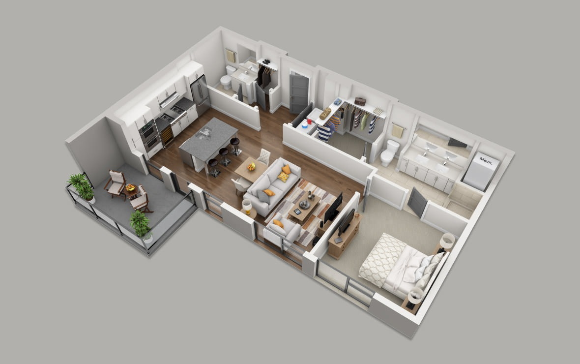 B1 - 1 bedroom floorplan layout with 1 bath and 865 square feet. (3D)