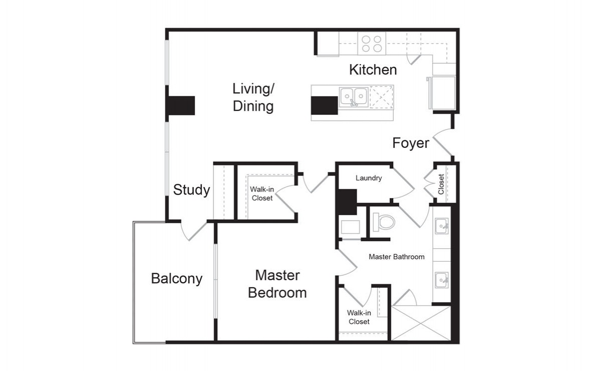 B2 - 1 bedroom floorplan layout with 1 bath and 906 square feet. (2D)