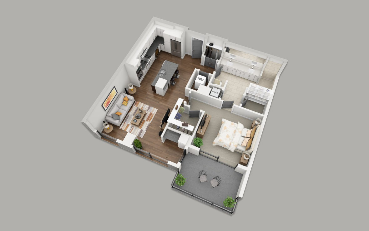B2 - 1 bedroom floorplan layout with 1 bath and 906 square feet. (3D)