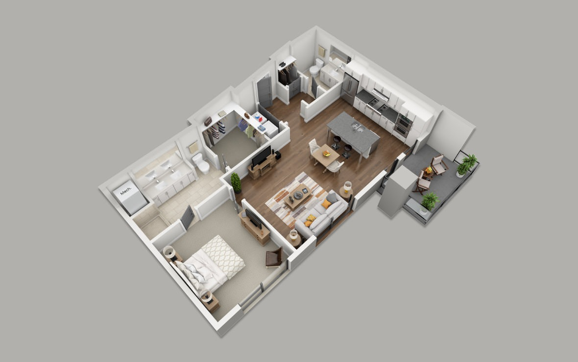 B3 - 1 bedroom floorplan layout with 1.5 bath and 941 square feet. (3D)