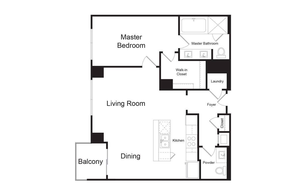 B4 - 1 bedroom floorplan layout with 1.5 bath and 993 square feet. (2D)