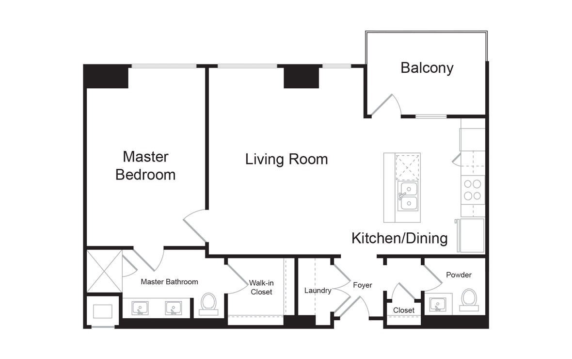 B5 - 1 bedroom floorplan layout with 1.5 bath and 993 square feet. (2D)
