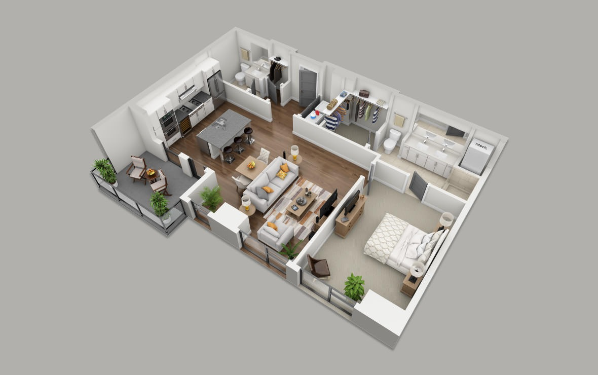 B5 - 1 bedroom floorplan layout with 1.5 bath and 993 square feet. (3D)