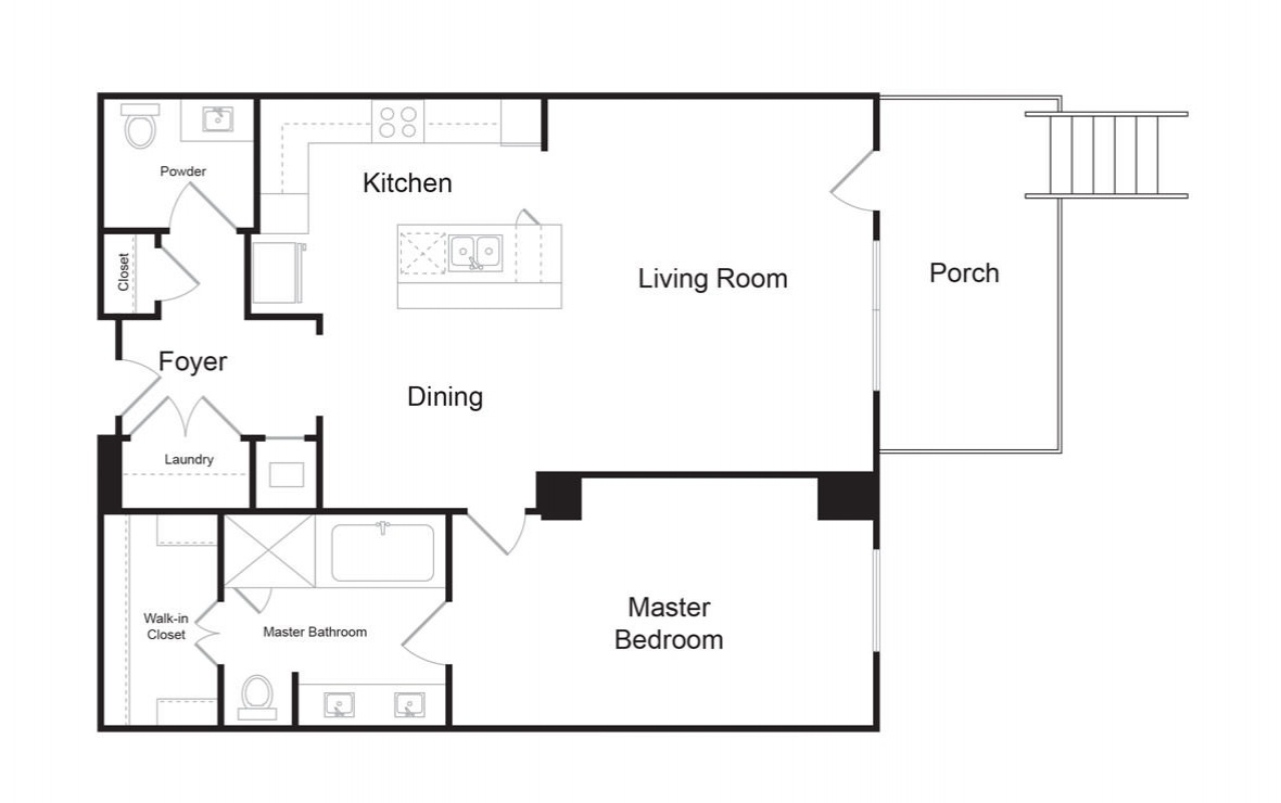 B6 - 1 bedroom floorplan layout with 1.5 bath and 1042 square feet. (2D)