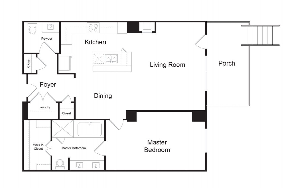 B6B - 1 bedroom floorplan layout with 1.5 bath and 1042 square feet. (2D)
