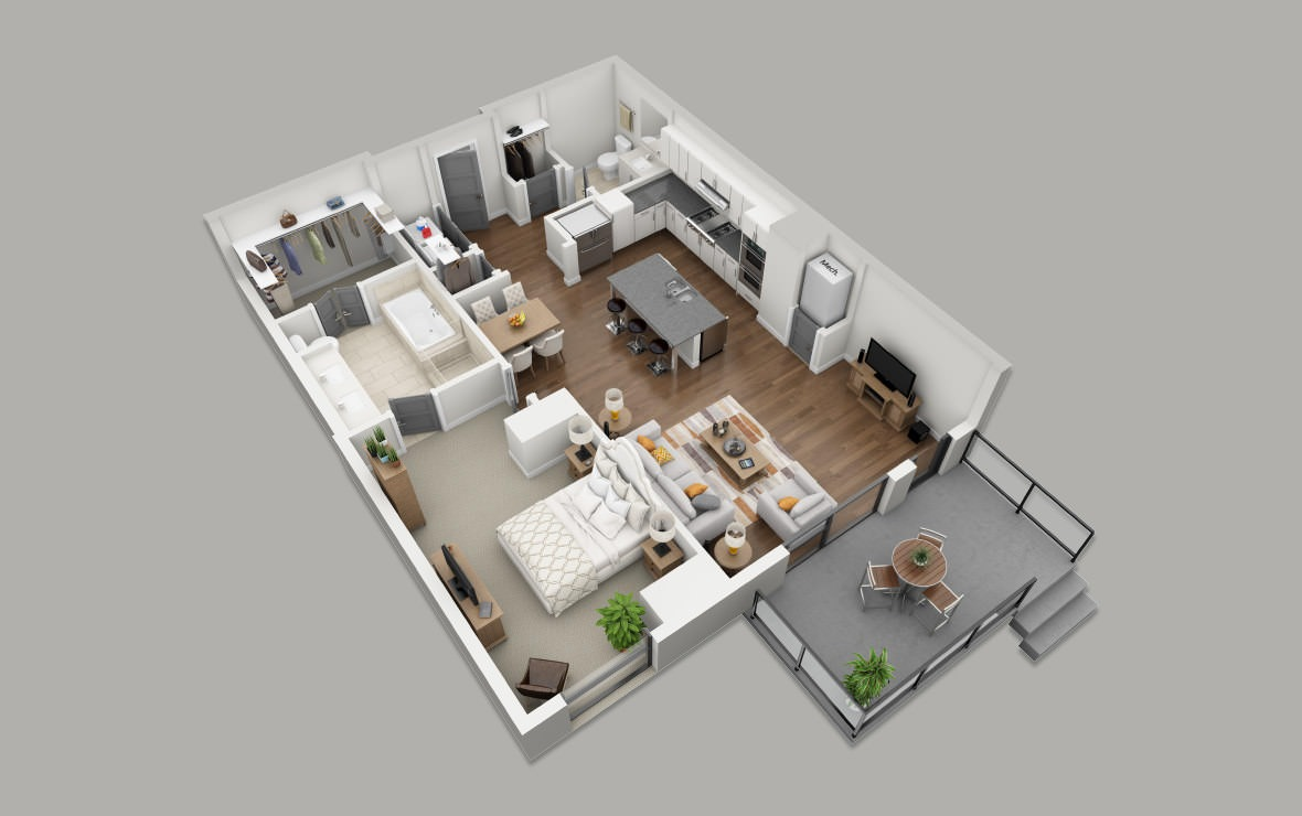 B6B - 1 bedroom floorplan layout with 1.5 bath and 1042 square feet. (3D)