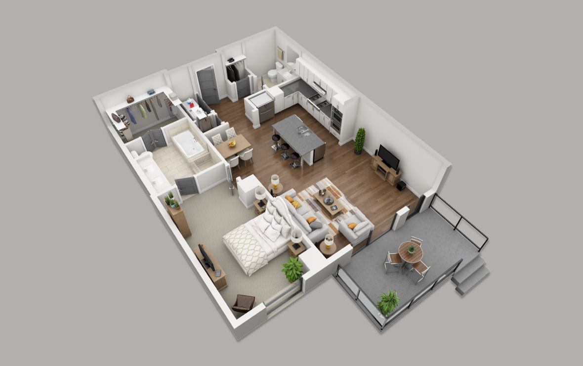 B6 - 1 bedroom floorplan layout with 1.5 bath and 1042 square feet. (3D)