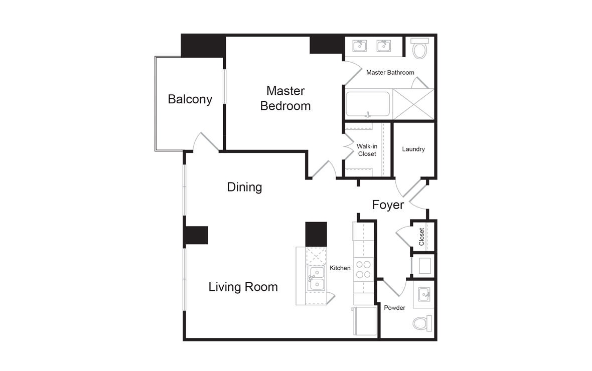 B7 - 1 bedroom floorplan layout with 1.5 bath and 1035 square feet. (2D)