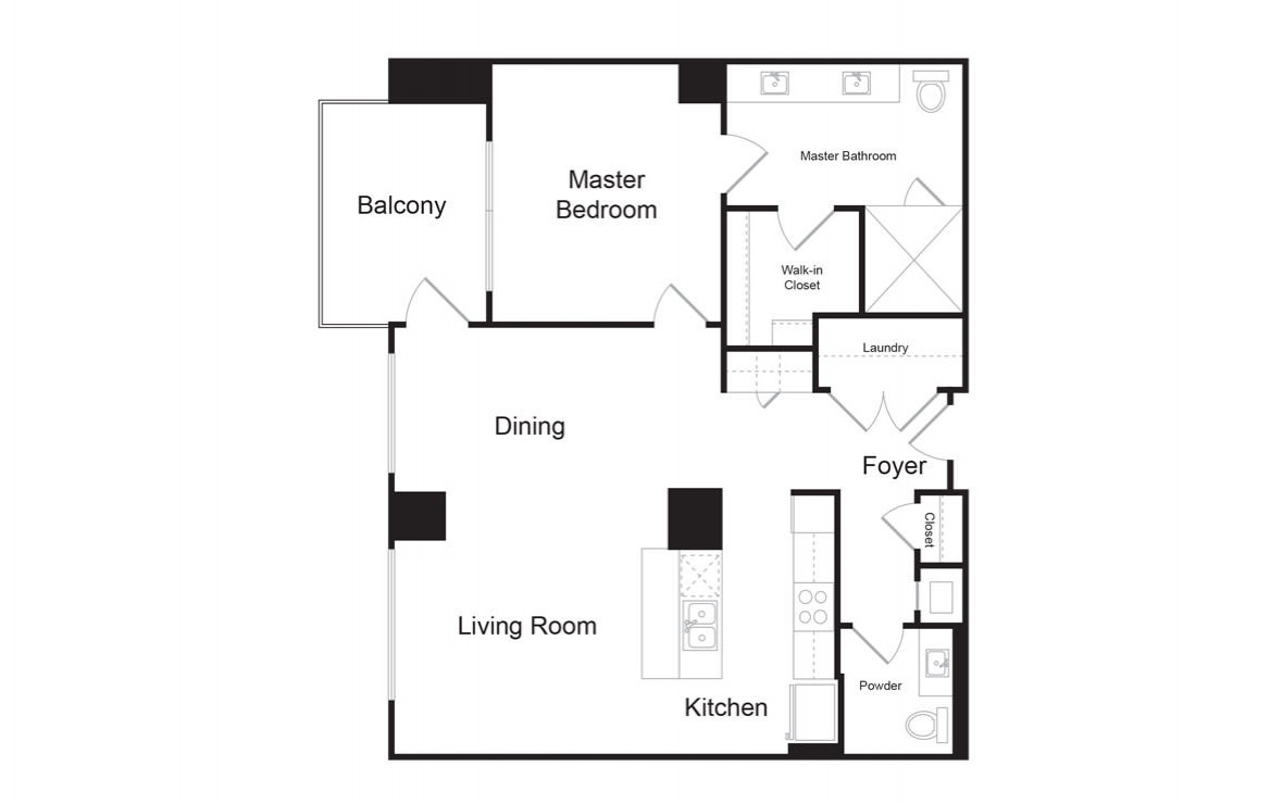 B7-A - 1 bedroom floorplan layout with 1.5 bath and 1035 square feet. (2D)