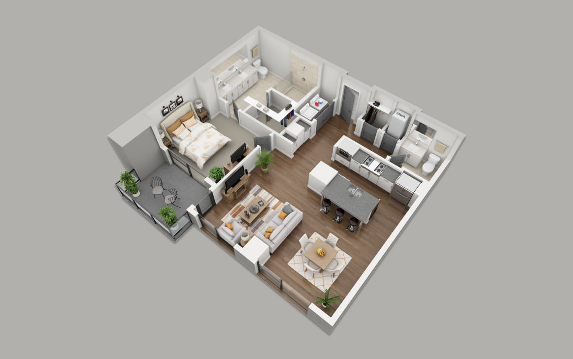 B7-A - 1 bedroom floorplan layout with 1.5 bath and 1035 square feet. (3D)