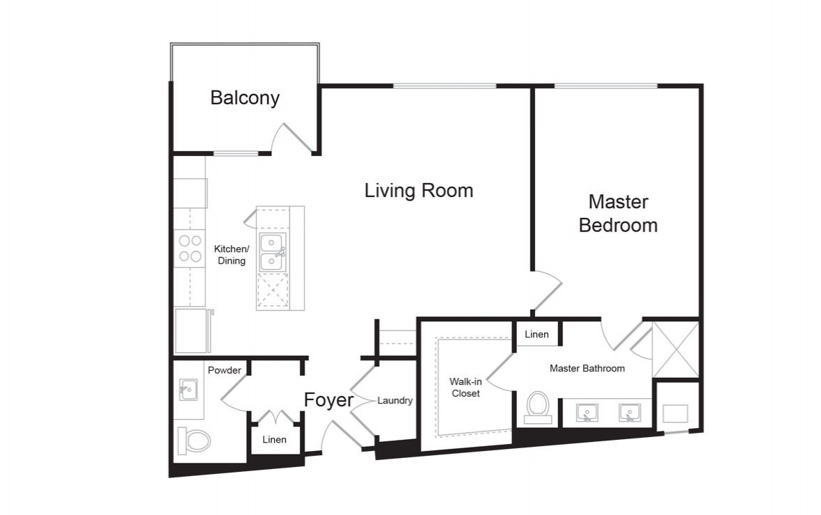 B8 - 1 bedroom floorplan layout with 1.5 bath and 1072 square feet. (2D)