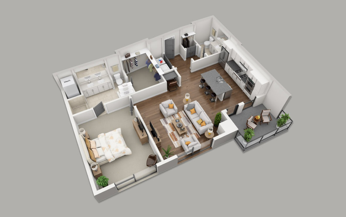 B8 - 1 bedroom floorplan layout with 1.5 bath and 1072 square feet. (3D)
