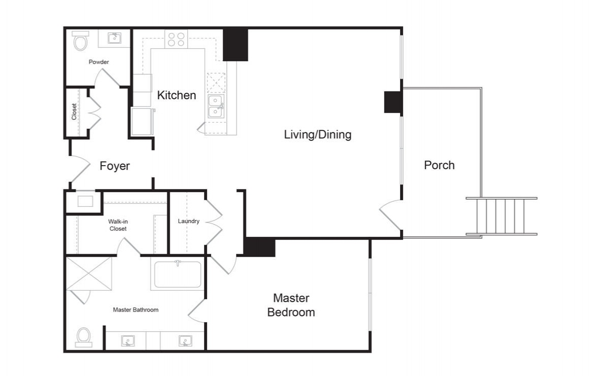 B9 - 1 bedroom floorplan layout with 1.5 bath and 1174 square feet. (2D)