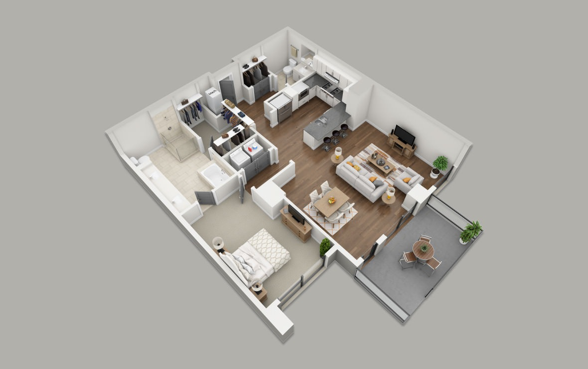 B9 - 1 bedroom floorplan layout with 1.5 bath and 1174 square feet. (3D)