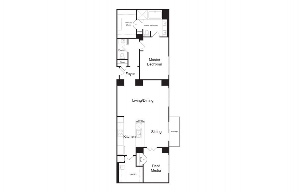 BB - 1 bedroom floorplan layout with 1.5 bath and 1478 square feet. (2D)