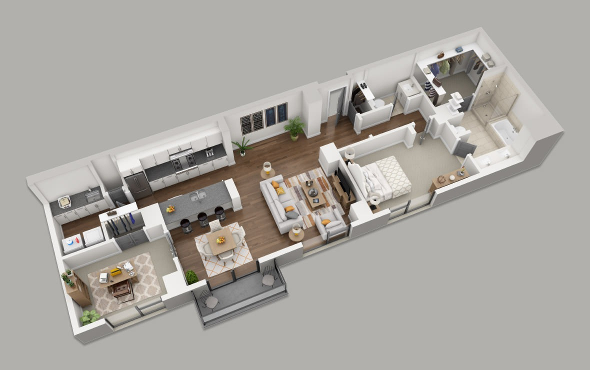 BB - 1 bedroom floorplan layout with 1.5 bath and 1478 square feet. (3D)