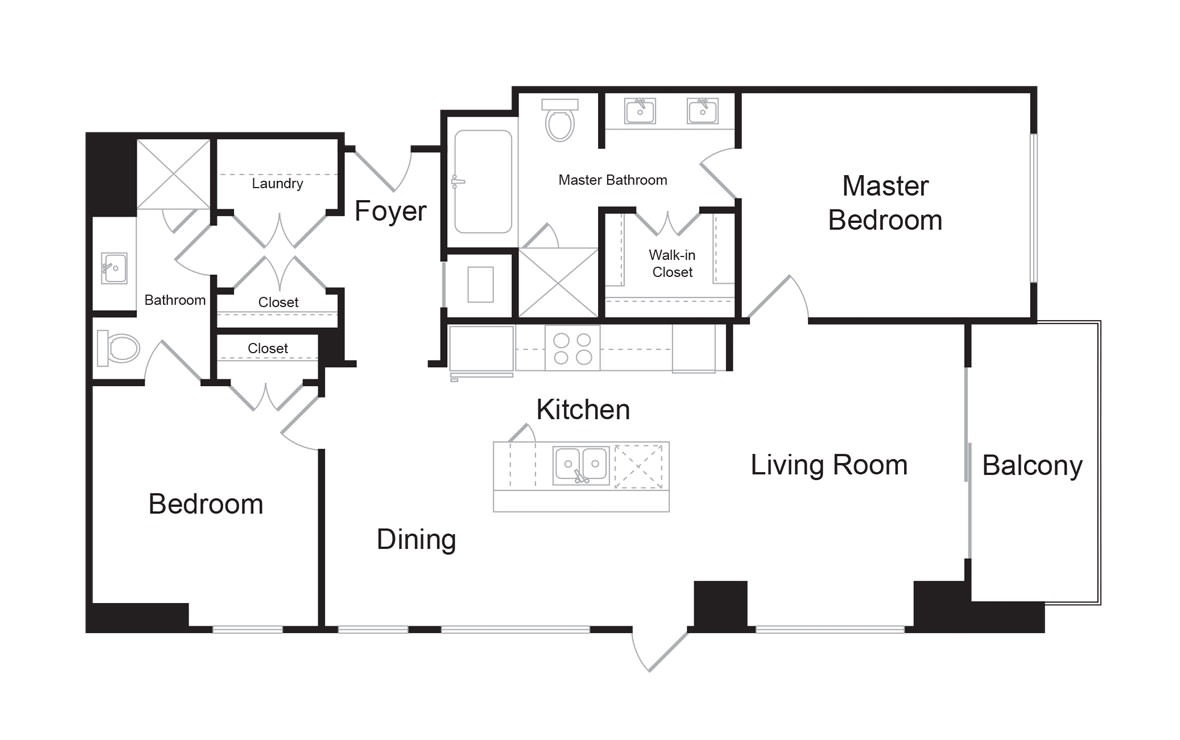 C1 - 2 bedroom floorplan layout with 2 baths and 1339 square feet. (2D)