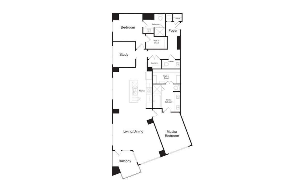 C10 - 2 bedroom floorplan layout with 2.5 baths and 1870 square feet. (2D)