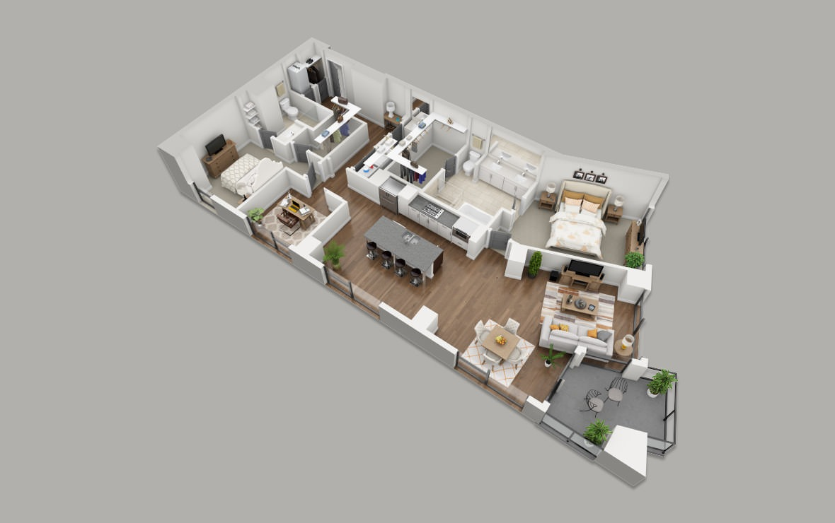 C10 - 2 bedroom floorplan layout with 2.5 baths and 1870 square feet. (3D)
