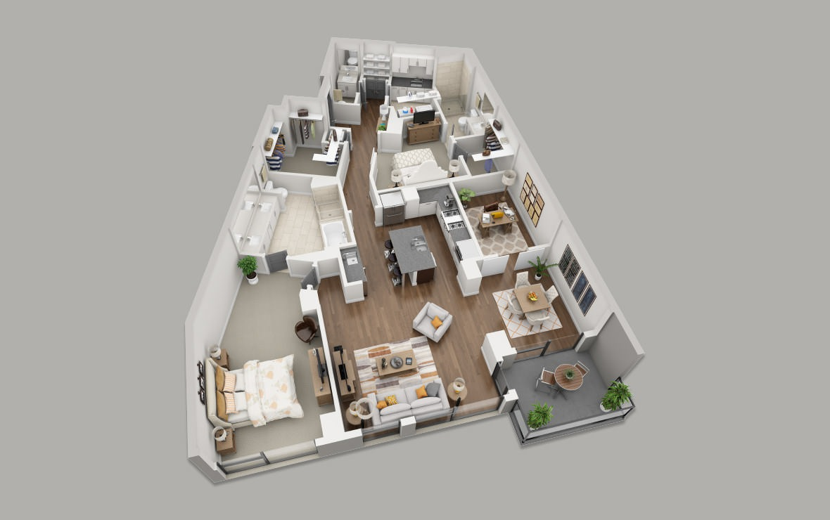 C11 - 2 bedroom floorplan layout with 2.5 baths and 1899 square feet. (3D)