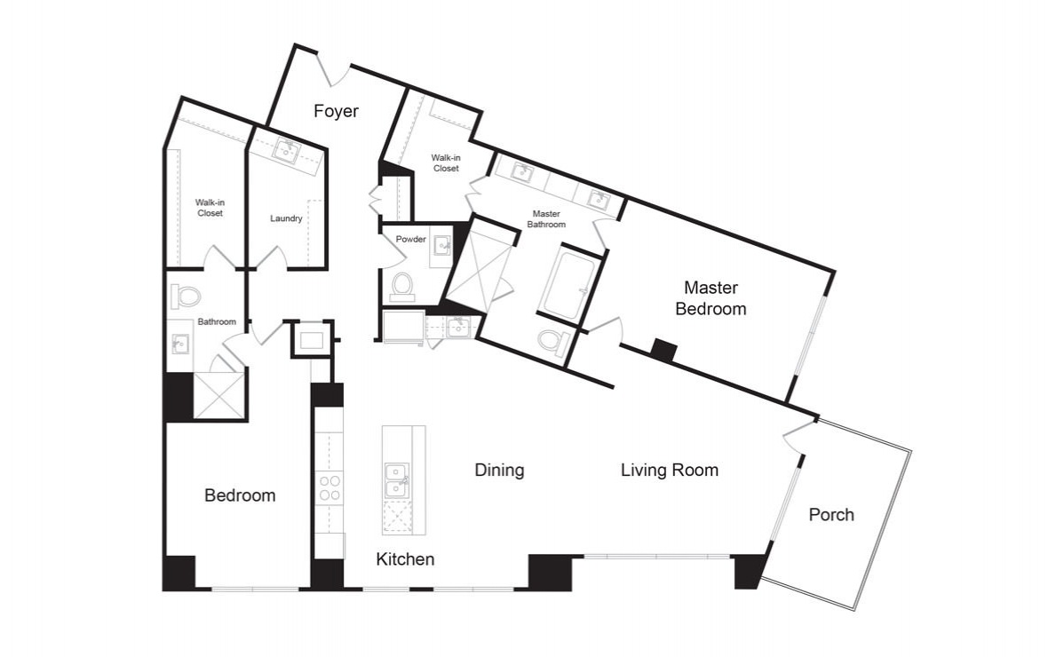 C12 - 2 bedroom floorplan layout with 2.5 baths and 1965 square feet. (2D)
