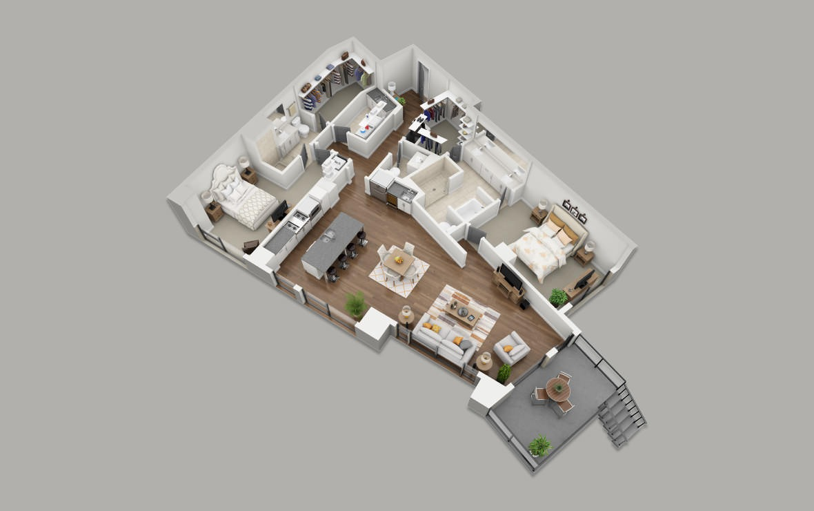 C12 - 2 bedroom floorplan layout with 2.5 baths and 1965 square feet. (3D)