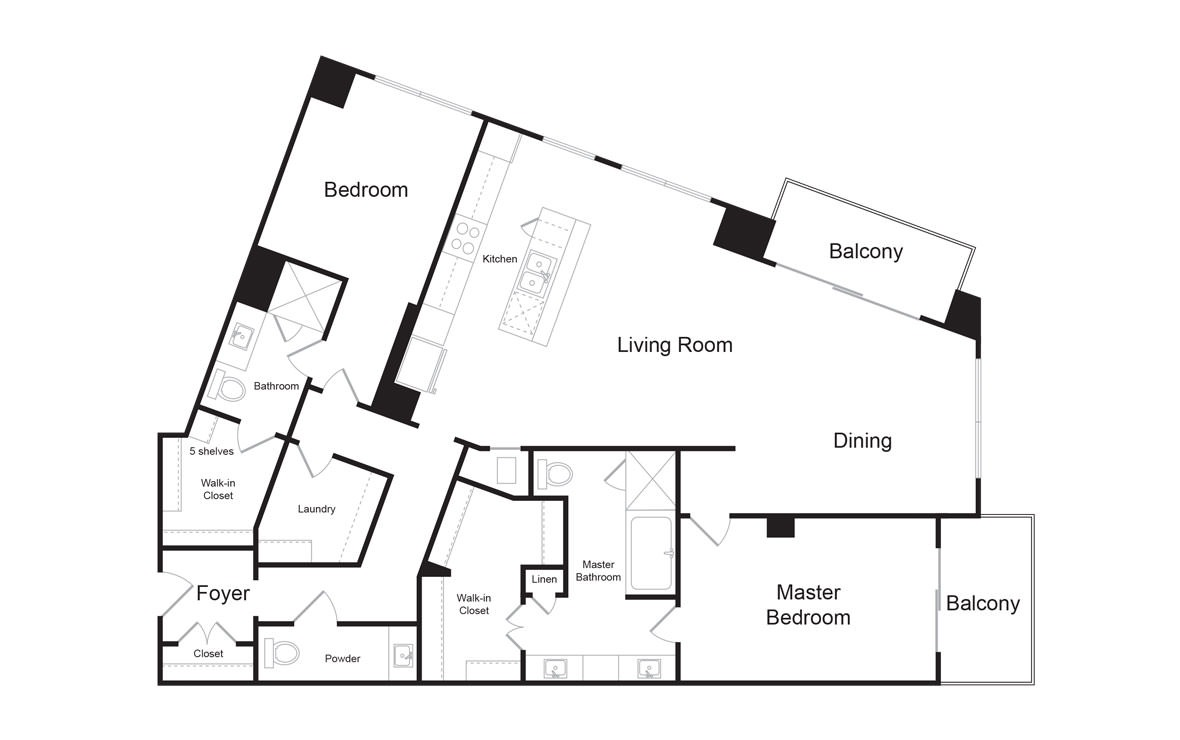 C13 - 2 bedroom floorplan layout with 2.5 baths and 1962 square feet. (2D)