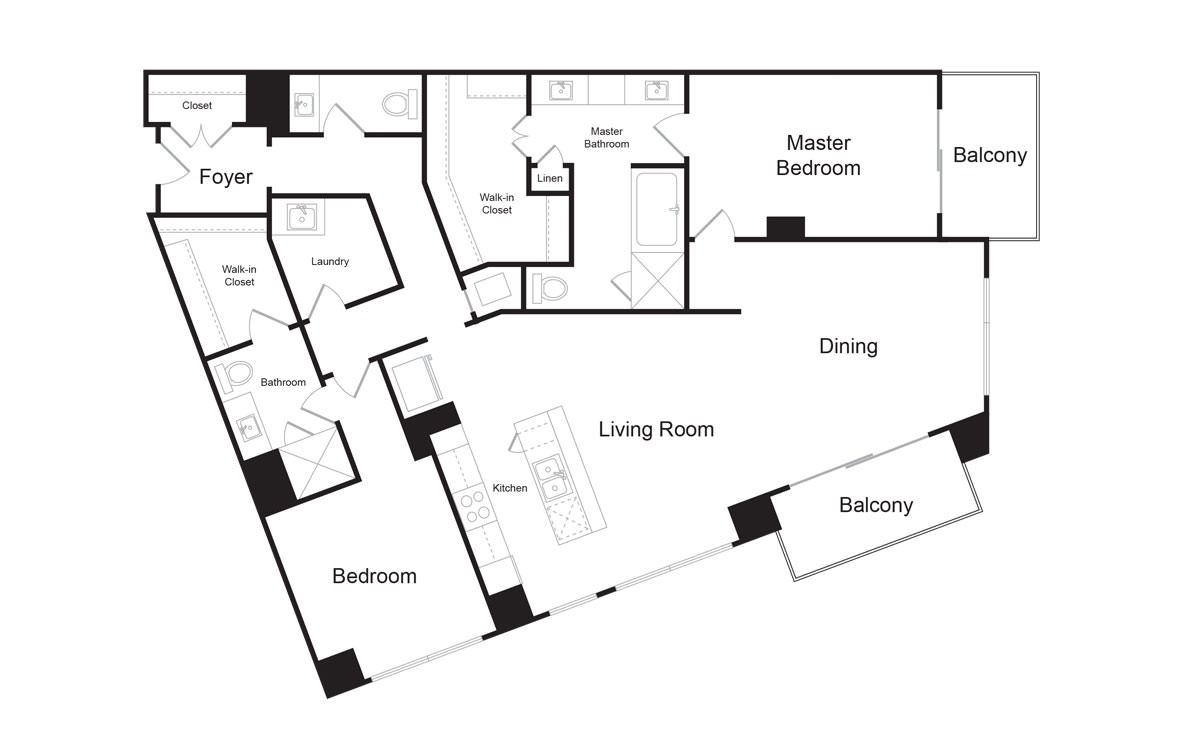 C14 - 2 bedroom floorplan layout with 2.5 baths and 1955 square feet. (2D)