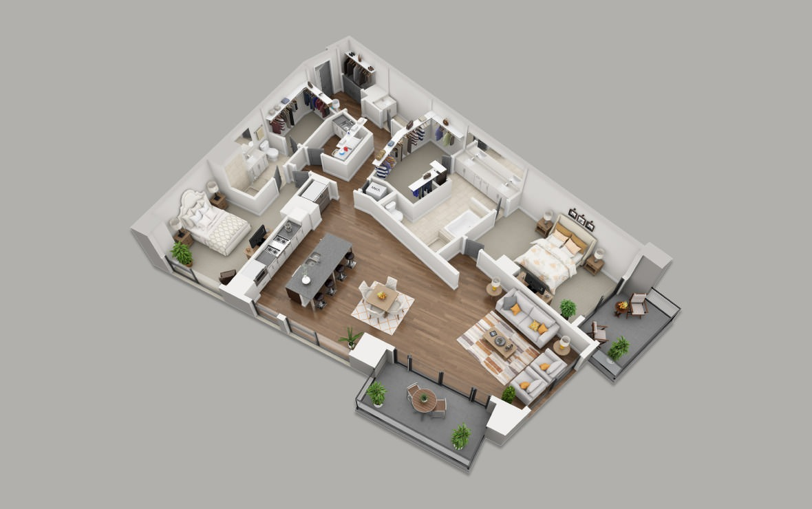 C14 - 2 bedroom floorplan layout with 2.5 baths and 1955 square feet. (3D)