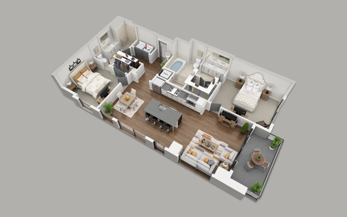 C1 - 2 bedroom floorplan layout with 2 baths and 1339 square feet. (3D)