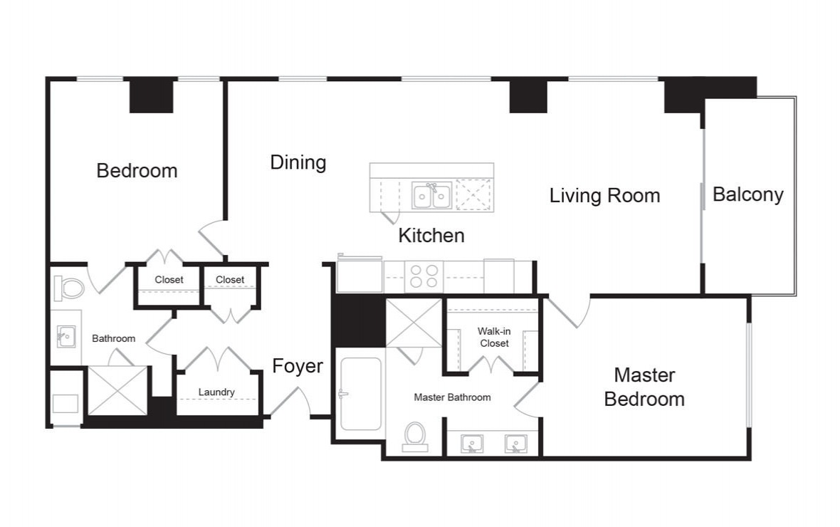 C2 - 2 bedroom floorplan layout with 2 baths and 1375 square feet. (2D)