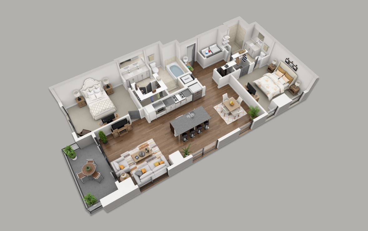 C2 - 2 bedroom floorplan layout with 2 baths and 1375 square feet. (3D)