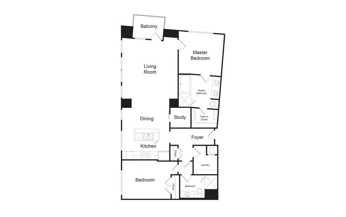 C3 - 2 bedroom floorplan layout with 2 baths and 1578 square feet. (2D)