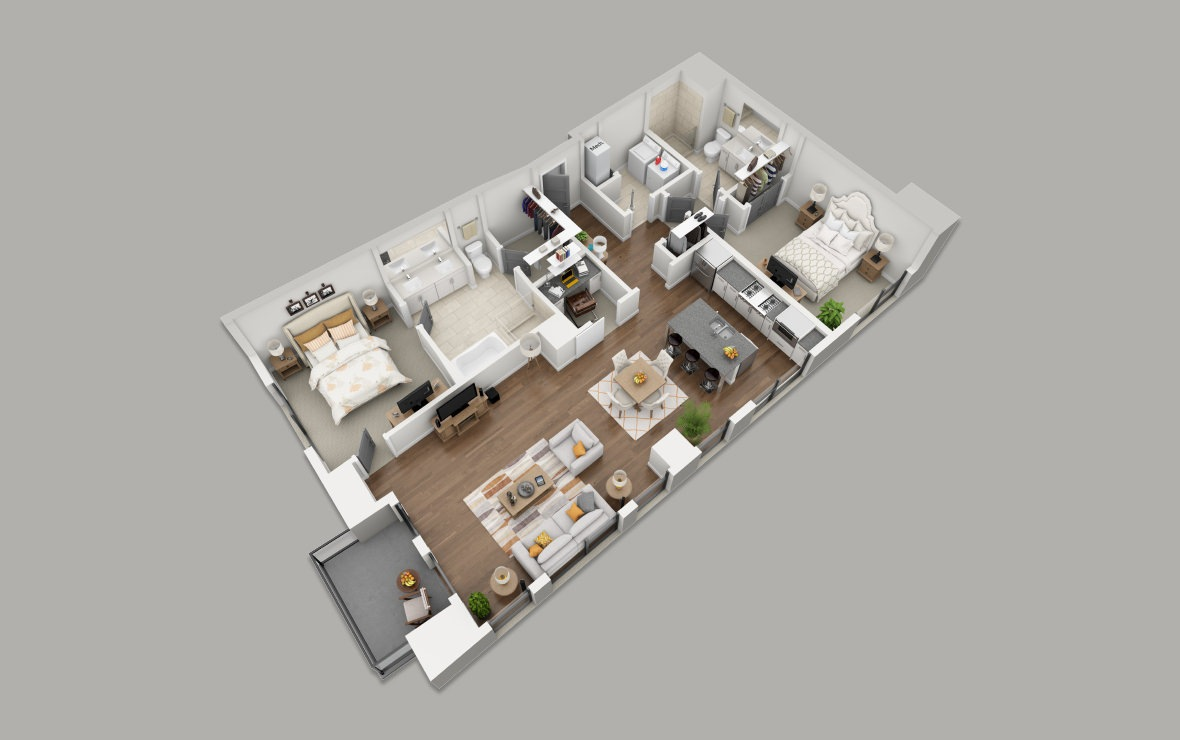 C3 - 2 bedroom floorplan layout with 2 baths and 1578 square feet. (3D)