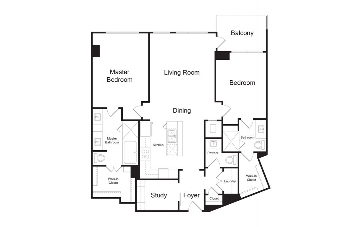 C4 - 2 bedroom floorplan layout with 2.5 baths and 1617 square feet. (2D)