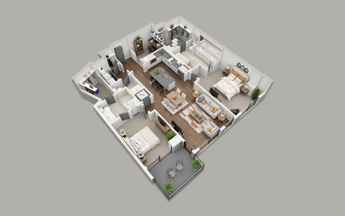 C4 - 2 bedroom floorplan layout with 2.5 baths and 1617 square feet. (3D)