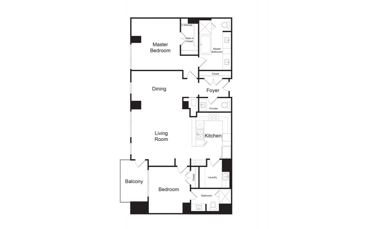 C5 - 2 bedroom floorplan layout with 2.5 baths and 1705 square feet. (2D)