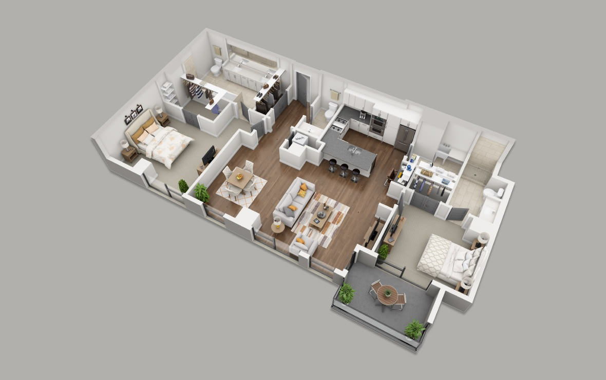 C5 - 2 bedroom floorplan layout with 2.5 baths and 1705 square feet. (3D)