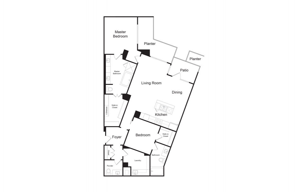 C6A - 2 bedroom floorplan layout with 2.5 baths and 1718 square feet. (2D)