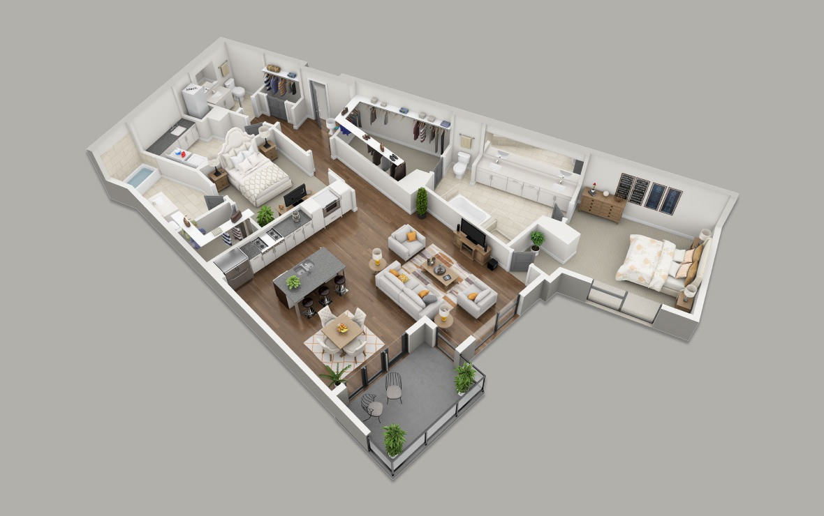 C6 - 2 bedroom floorplan layout with 2.5 baths and 1718 square feet. (3D)