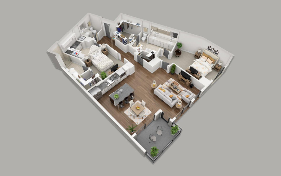 C7 - 2 bedroom floorplan layout with 2.5 baths and 1761 square feet. (3D)