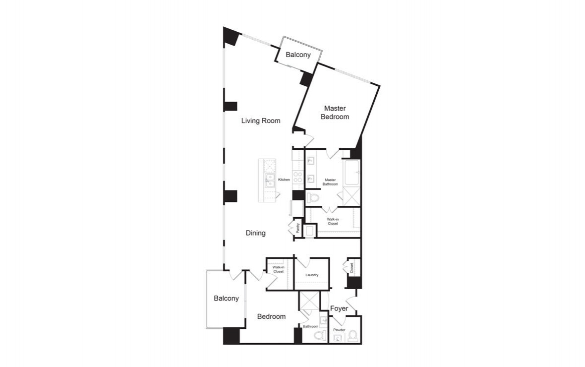 C8 - 2 bedroom floorplan layout with 2.5 baths and 1884 square feet. (2D)