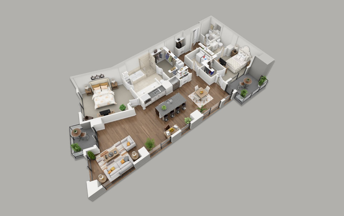 C8 - 2 bedroom floorplan layout with 2.5 baths and 1884 square feet. (3D)