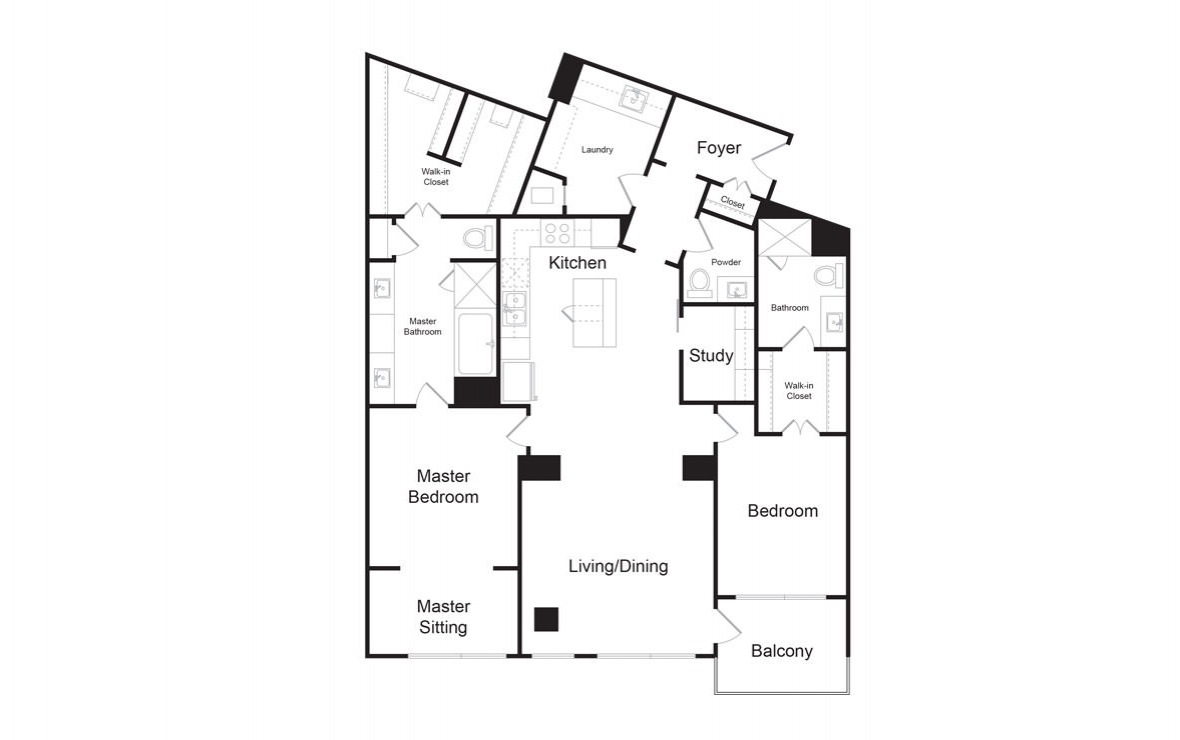 C9 - 2 bedroom floorplan layout with 2.5 baths and 1865 square feet. (2D)