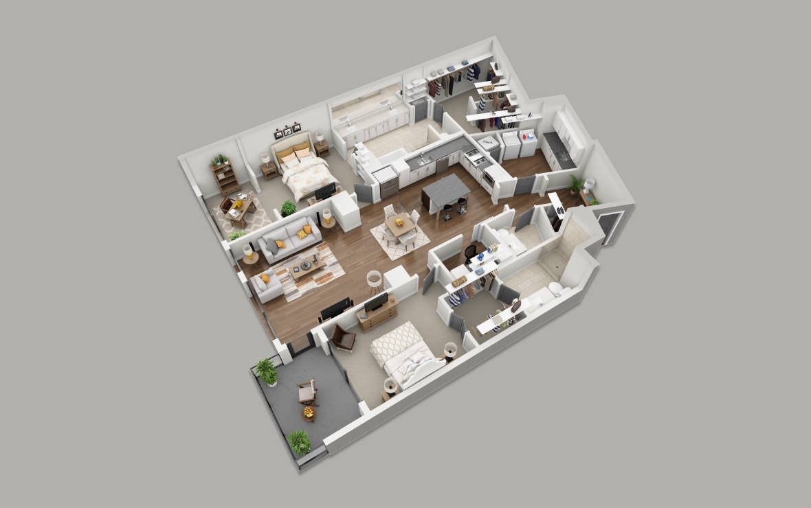 C9 - 2 bedroom floorplan layout with 2.5 baths and 1865 square feet. (3D)