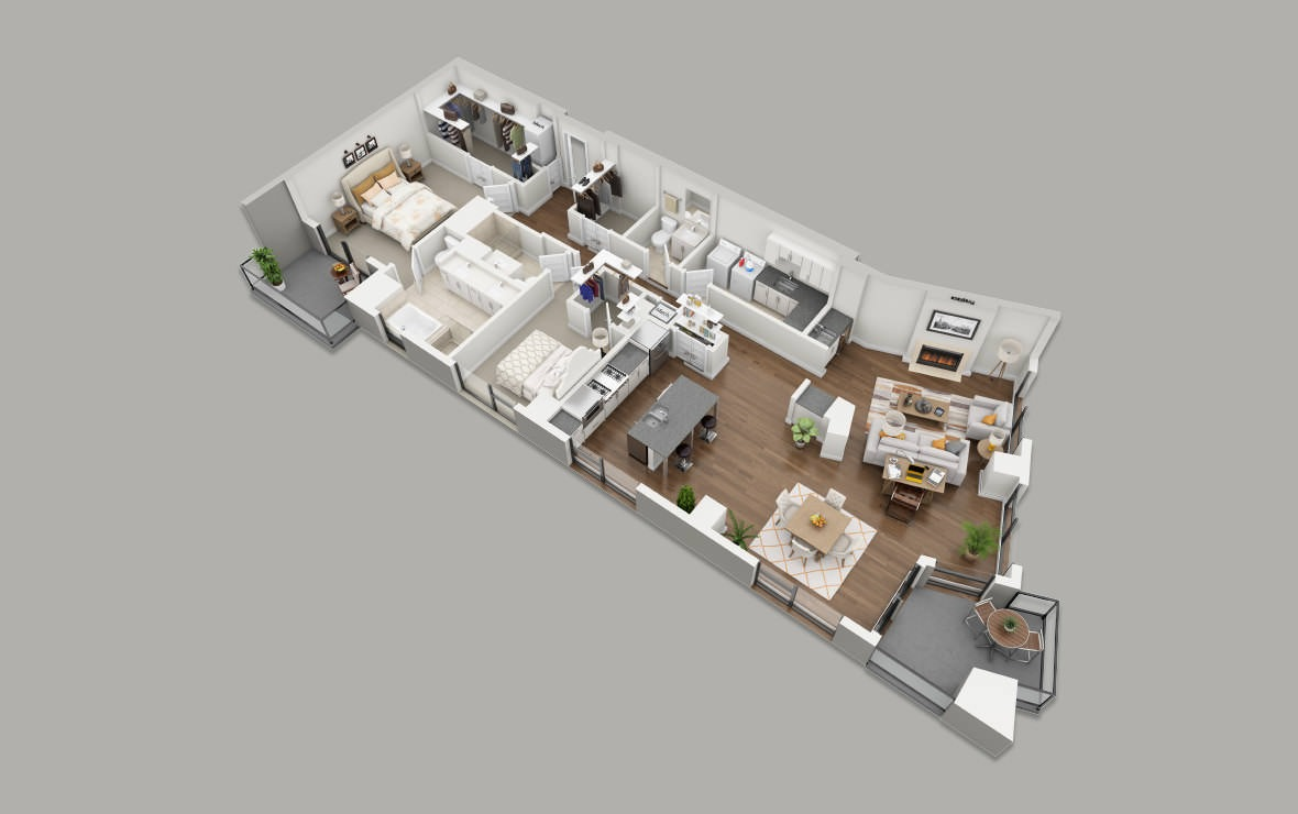 PH1 - 2 bedroom floorplan layout with 2.5 baths and 2177 square feet. (3D)